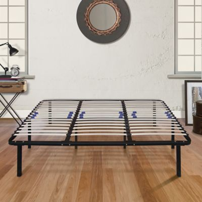 E-Rest California King Wood & Metal Platform Bed Frame
