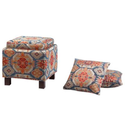 Madison Park Square Storage Ottoman with Two Accent Pillows in Red