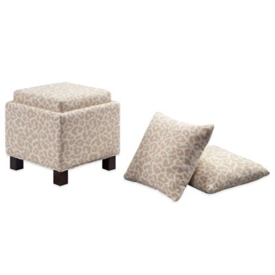 Madison Park Square Storage Ottoman with Two Accent Pillows in Cream