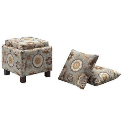 Madison Park Square Storage Ottoman with Two Accent Pillows in Linen