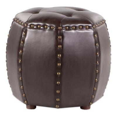Madison Park Octagon Tufted Ottoman in Brown