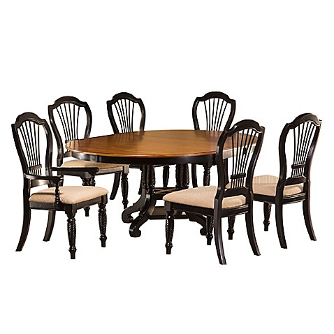 buy hillsdale wilshire 7 piece round dining set in rubbed black from