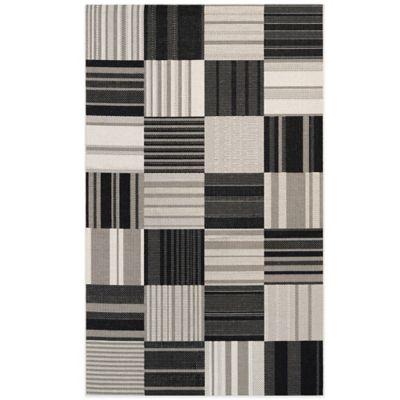 Couristan® Afuera Patchwork 3-Foot 11-Inch x 5-Foot 7-Inch Indoor/Outdoor Area Rug in Onyx/Ivory
