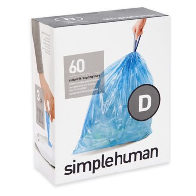 simplehuman® Code D 60-Pack 5.3-Gallon Custom Fit Recycling Liners