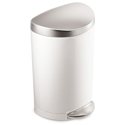 simplehuman® Stainless Steel Semi-Round 10-Liter Step-On Trash Can in White