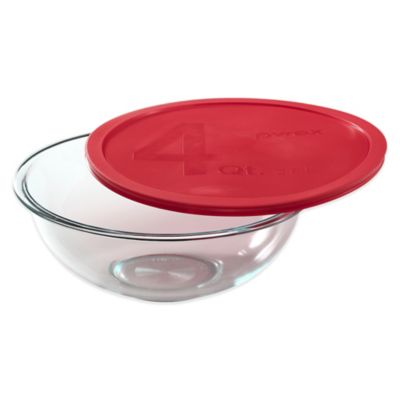 Pyrex® 4 qt. Glass Mixing Bowl with Red Plastic Lid