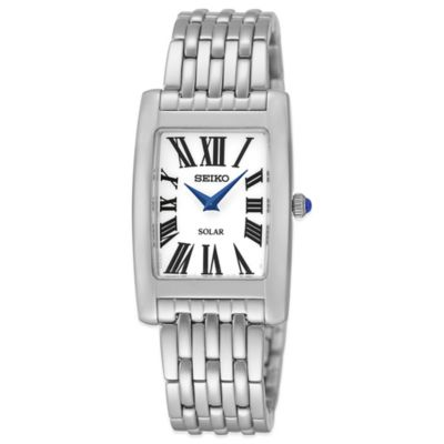 Seiko Ladies' 22.5mm Rectangular Solar Watch in Stainless Steel