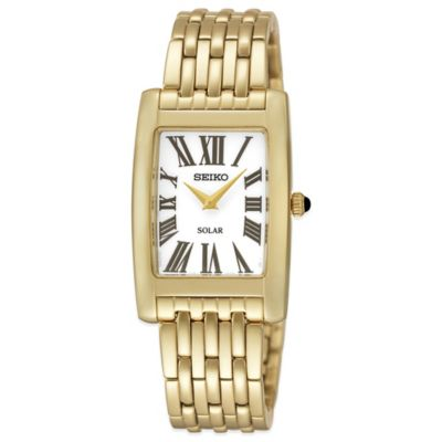 Seiko Ladies' 22.5mm Rectangular Solar Watch in Goldtone Stainless Steel