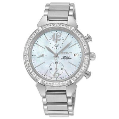 Seiko Ladies' 36mm Diamond Bezel Solar Chronograph Watch in Stainless Steel