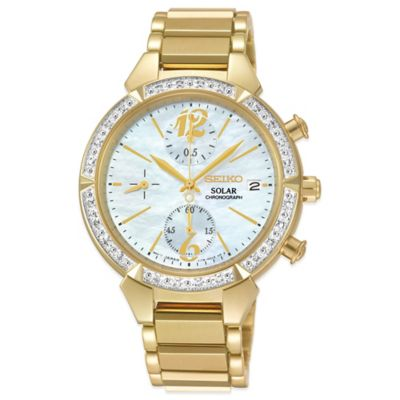 Seiko Ladies' 36mm Diamond Bezel Solar Chronograph Watch in Goldtone Stainless Steel