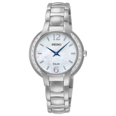 Seiko Ladies' 29mm Diamond Frame Solar Watch in Stainless Steel