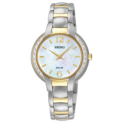 Seiko Ladies' 29mm Diamond Frame Solar Watch in Two-Tone Stainless Steel