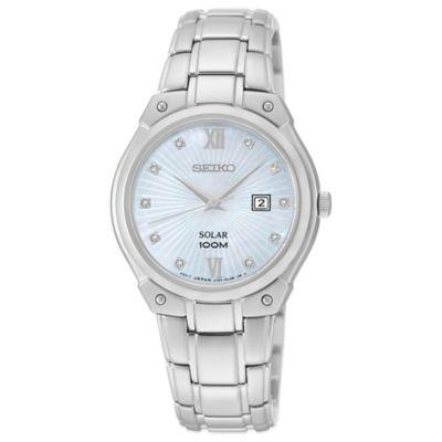 Seiko Ladies' 29.5mm Diamond Marker Solar Watch in Stainless Steel