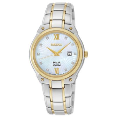 Seiko Ladies' 29.5mm Diamond Marker Solar Watch in Two-Tone Stainless Steel