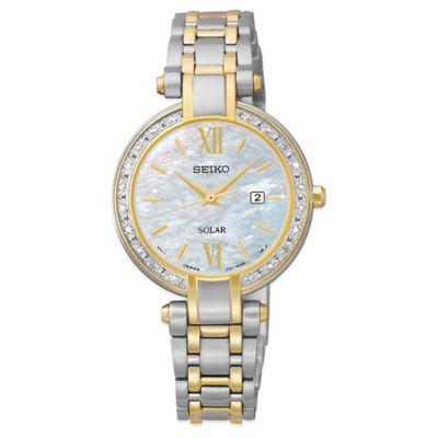 Seiko Tressia® Ladies' 30mm Diamond Bezel Solar Watch in Two-Tone Stainless Steel