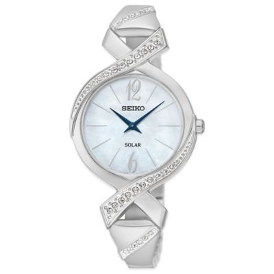 Seiko Ladies' 29mm Swarovski® Crystal Solar Bangle Watch in Stainless Steel