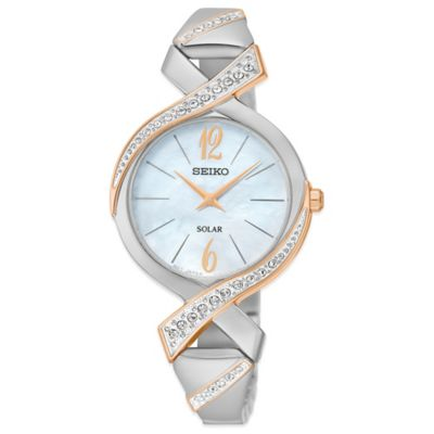 Seiko Ladies' 29mm Swarovski® Crystal Solar Bangle Watch in Two-Tone Stainless Steel