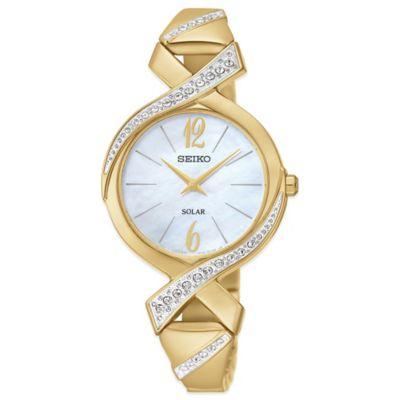 Seiko Ladies' 29mm Swarovski® Crystal Solar Bangle Watch in Goldtone Stainless Steel