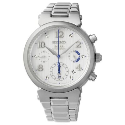 Seiko Ladies' 36mm Solar Chronograph Watch in Stainless Steel
