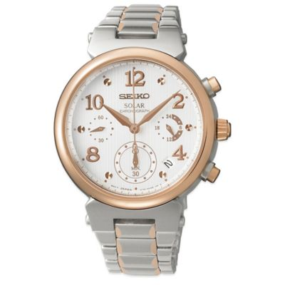 Seiko Ladies' 36mm Solar Chronograph Watch in Two-Tone Stainless Steel