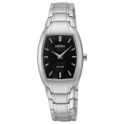 Seiko Ladies' 23mm Tonneau Solar Watch in Stainless Steel