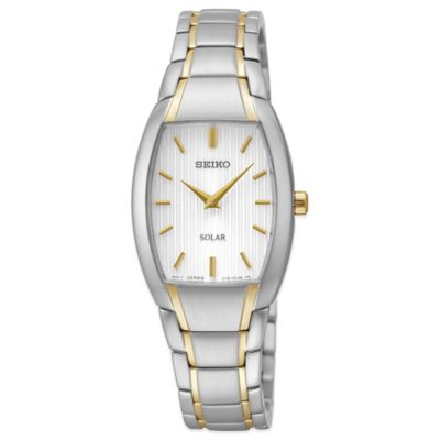 Seiko Ladies' 23mm Tonneau Solar Watch in Two-Tone Stainless Steel