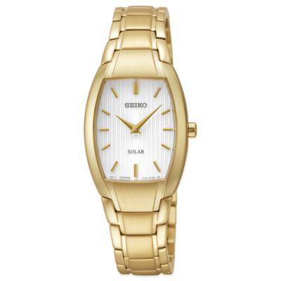 Seiko Ladies' 23mm Tonneau Solar Watch in Goldtone Stainless Steel