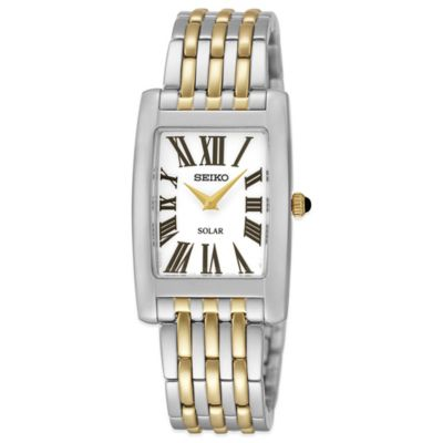 Seiko Ladies' 22.5mm Rectangular Solar Watch in Two-Tone Stainless Steel