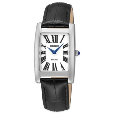 Seiko Ladies' 22.5mm Rectangular Solar Watch in Stainless Steel with Black Leather Strap