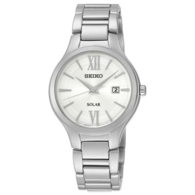 Seiko Ladies' 29mm White Dial Solar Watch in Stainless Steel