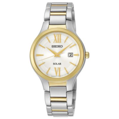 Seiko Ladies' 29mm White Dial Solar Watch in Two-Tone Stainless Steel