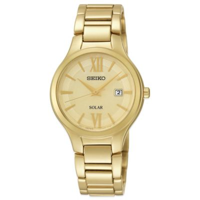 Seiko Ladies' 29mm Champagne Dial Solar Watch in Goldtone Stainless Steel