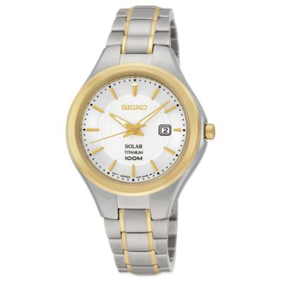 Seiko Ladies' 30.5mm Round Solar Watch in Two-Tone Stainless Steel