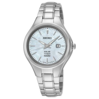 Seiko Ladies' 30.5mm Mother of Pearl Dial Watch in Titanium