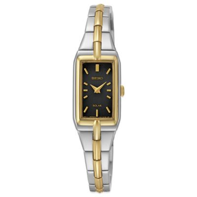 Seiko Ladies' 15mm Black Dial Rectangular Solar Watch in Two-Tone Stainless Steel