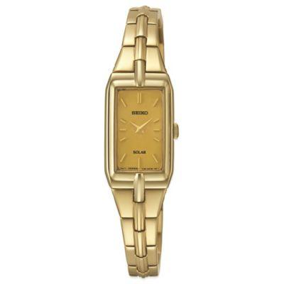 Seiko Ladies' 15mm Rectangular Solar Watch in Goldtone Stainless Steel