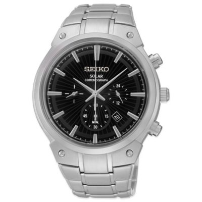 Seiko Men's 42mm Solar Chronograph Watch in Stainless Steel with Round Black Dial