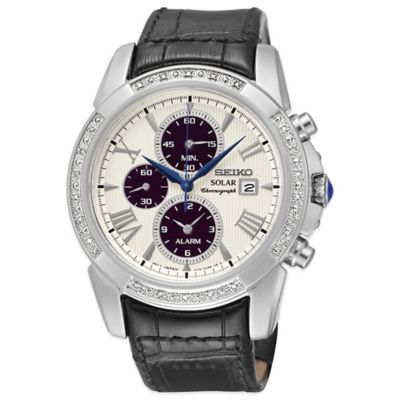 Seiko Le Grand Sport Men's 41mm Diamond Bezel Chronograph Watch with Black Leather Strap