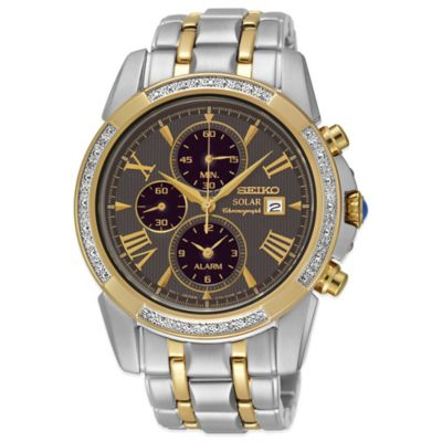 Seiko Le Grand Sport Men's 41mm Diamond Bezel Chronograph Watch in Two-Tone Stainless Steel
