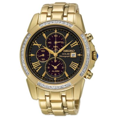 Seiko Le Grand Sport Men's 41mm Diamond Bezel Chronograph Watch in Goldtone Stainless Steel