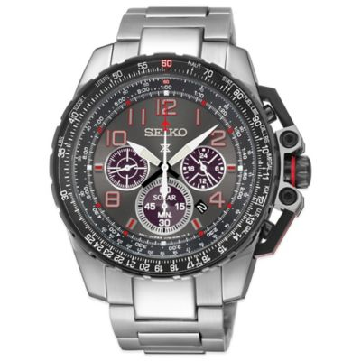 Seiko Men's 44mm Prospex Aviator Solar Chronograph Watch in Stainless Steel