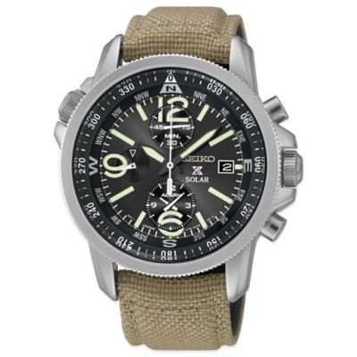 Seiko Men's 42mm Prospex Solar Alarm Chronograph Watch in Stainless Steel with Tan Nylon Strap