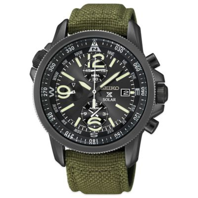 Seiko Men's Prospex Solar Alarm Chronograph Watch in Black Ion Stainless Steel with Green Strap