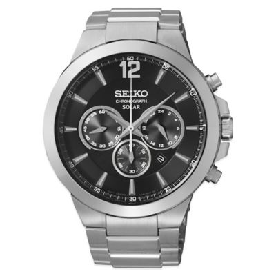 Seiko Recraft Men's 44mm Solar Chronograph in Stainless Steel with Black Dial