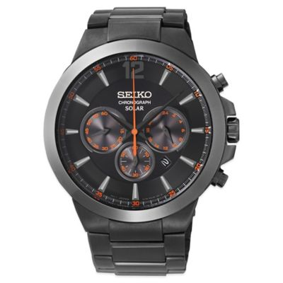 Seiko Recraft Men's 44.7mm Solar Chronograph Watch in Black Ion-Finished Stainless Steel