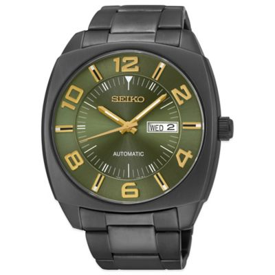 Seiko Recraft Men's 43.5mm Green Dial Automatic Watch in Black Ion-Finished Stainless Steel