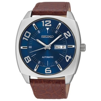 Seiko Recraft Men's 43mm Automatic Watch in Stainless Steel with Brown Leather Strap