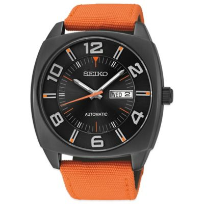 Seiko Recraft Men's 43mm Automatic Watch with Orange Nylon Strap