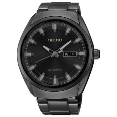 Seiko Recraft Men's 44mm Automatic Calendar Watch in Black Ion Finish Stainless Steel