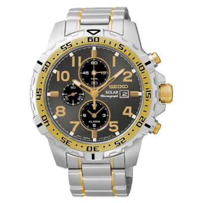 Seiko Men's 44mm Solar Alarm Chronograph Watch in Two-Tone Stainless Steel